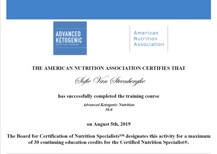 Advanced Ketogenic Nutrition training certificaat ANA Sofie Van Steenberghe