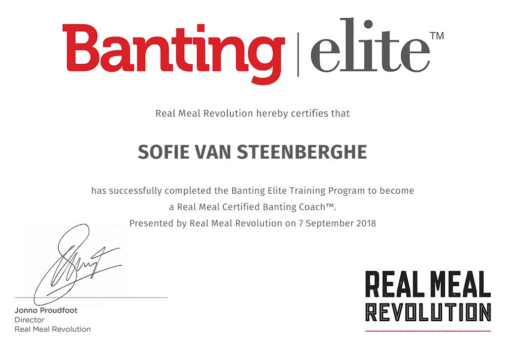 Banting coach certificaat Sofie Van Steenberghe