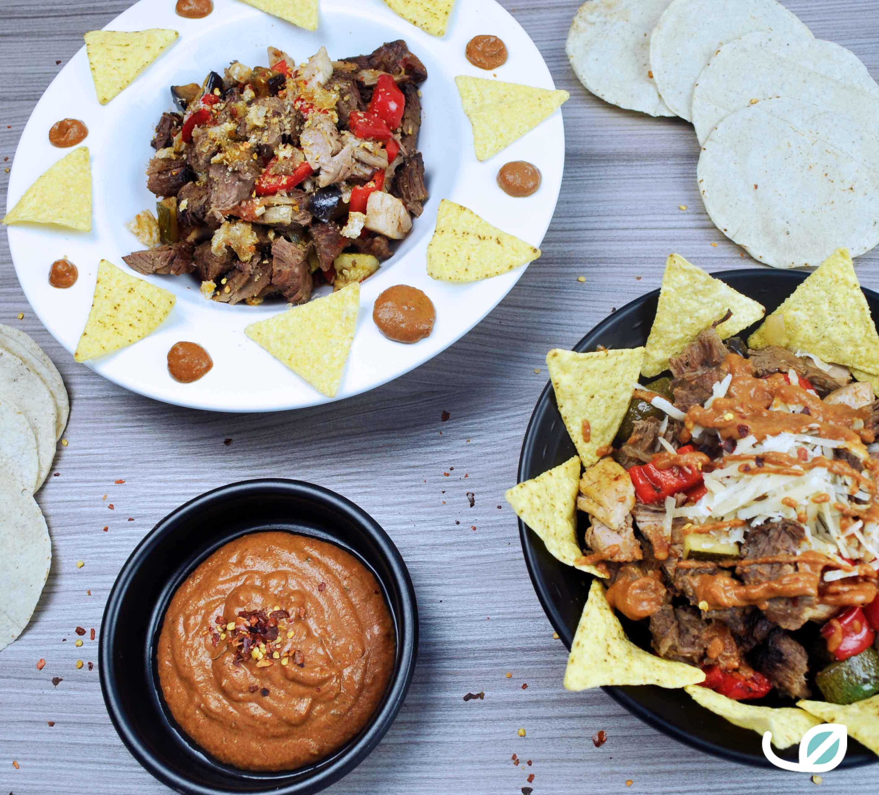 Keto traag gegaard pulled beef taco en fathead dorito bowl