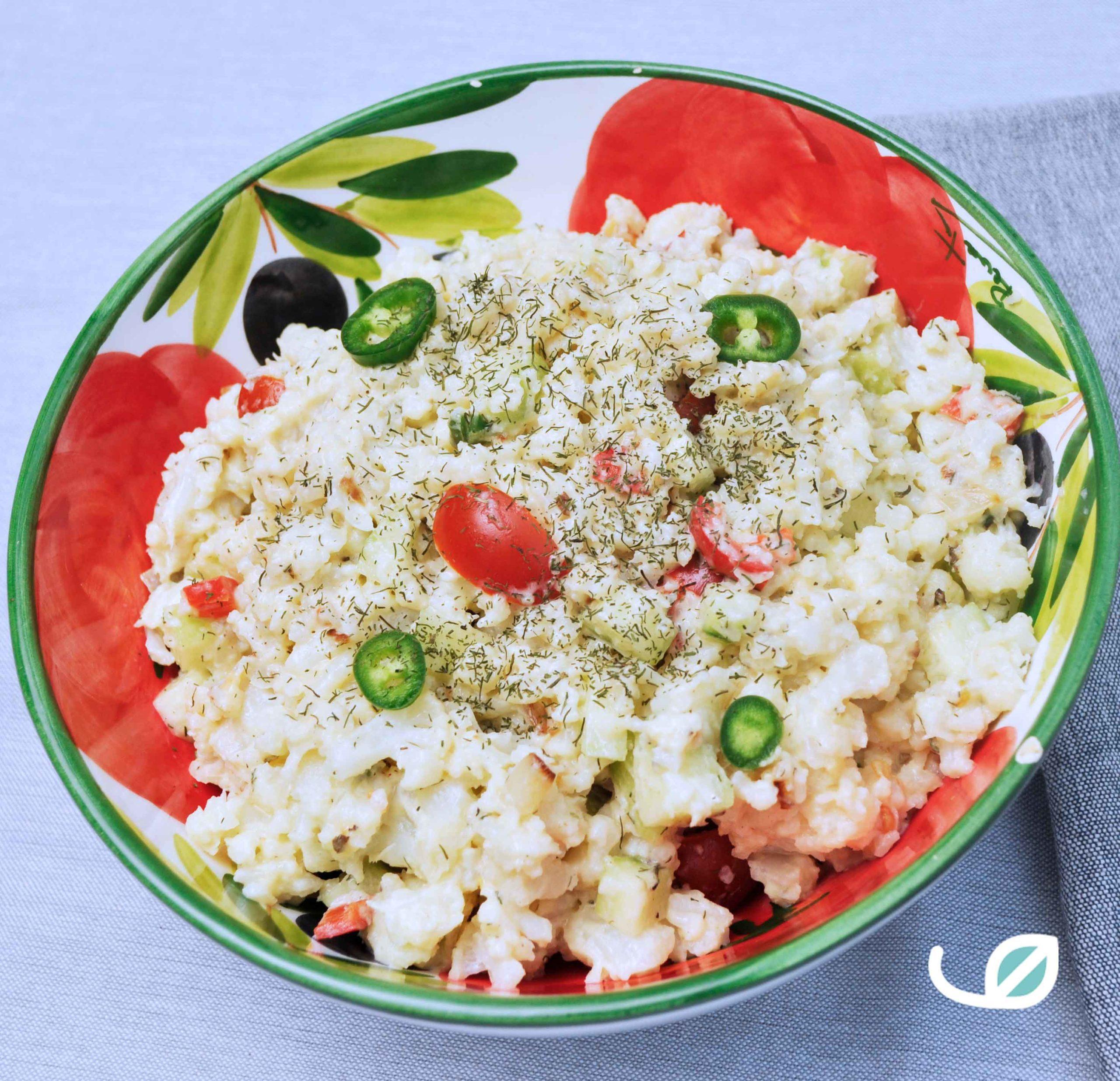 Keto koude bloemkoolsalade aardappelsalade swap recept bbq