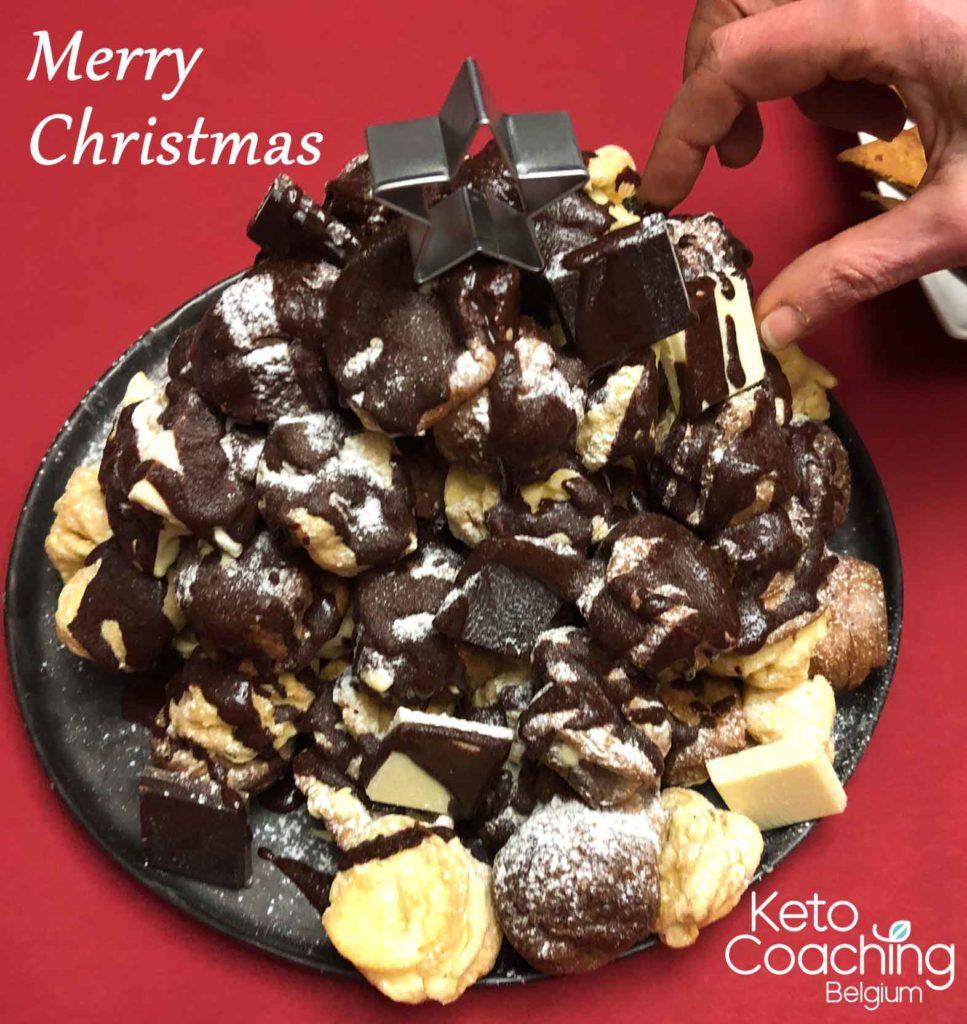 Keto soezen Kerstboom dessert merry christmas