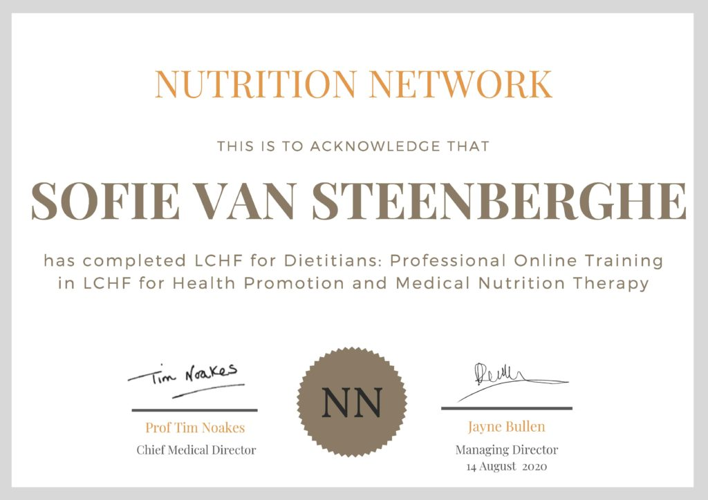 Sofie Van Steenberghe - LCHF for Dietitians Training Certificate