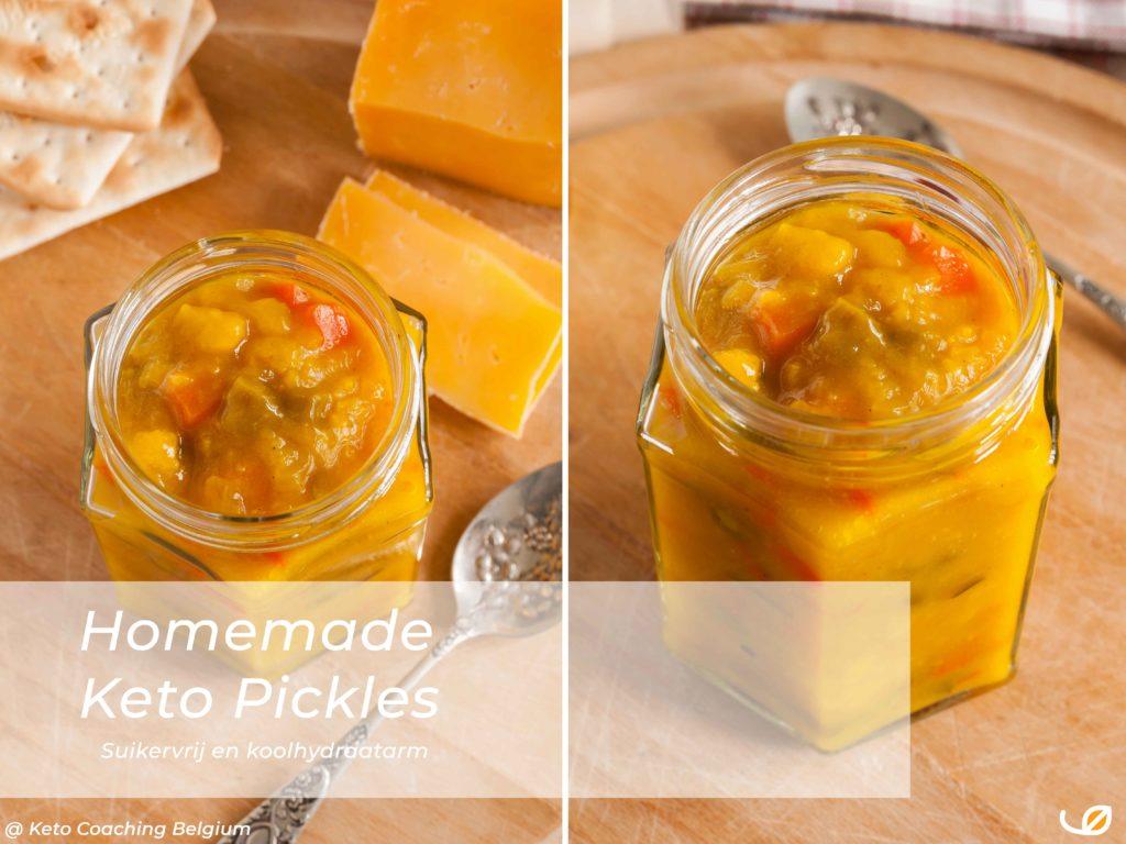 Homemade Suikervrije koolhydraatarme Keto Belgian Pickles - Piccalilly