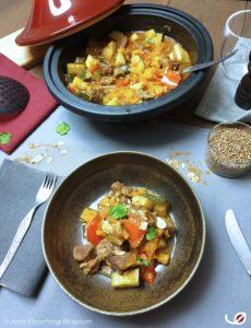 Keto Marokkaanse Lamstajine met aubergine courgette paprika amandelen ras el hanout