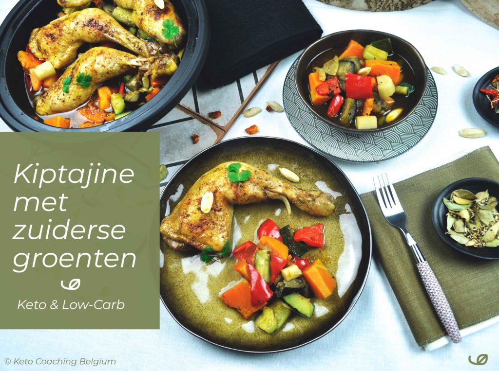 Keto en koolhydraatarm Tajine met kippenbouten pompoen en zuiderse groenten