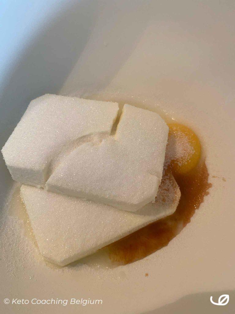 Keto roomkaas brownie marmer cake cream cheese mengsel