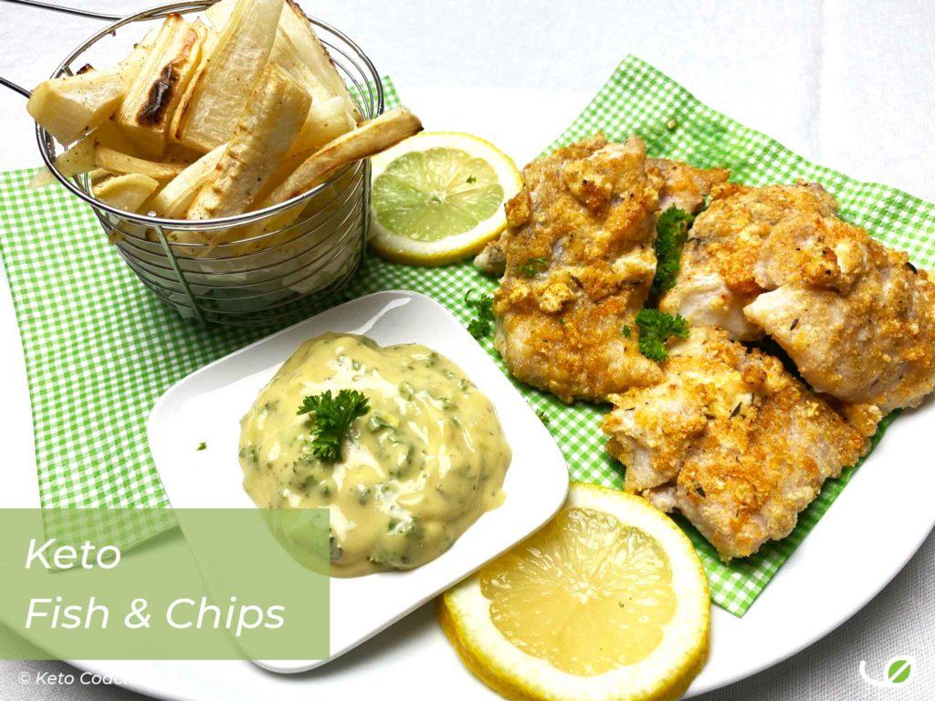 Keto Fish and Chips Koolhydraatarme glutenvrije fishsticks met frietjes van peterseliewortel