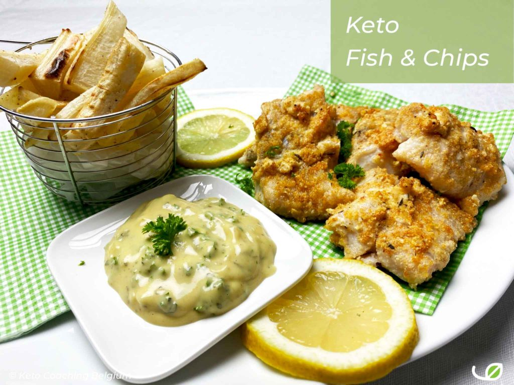 Keto Fish and Chips glutenvrije koolhydraatarme fishsticks met peterseliewortel frietjes