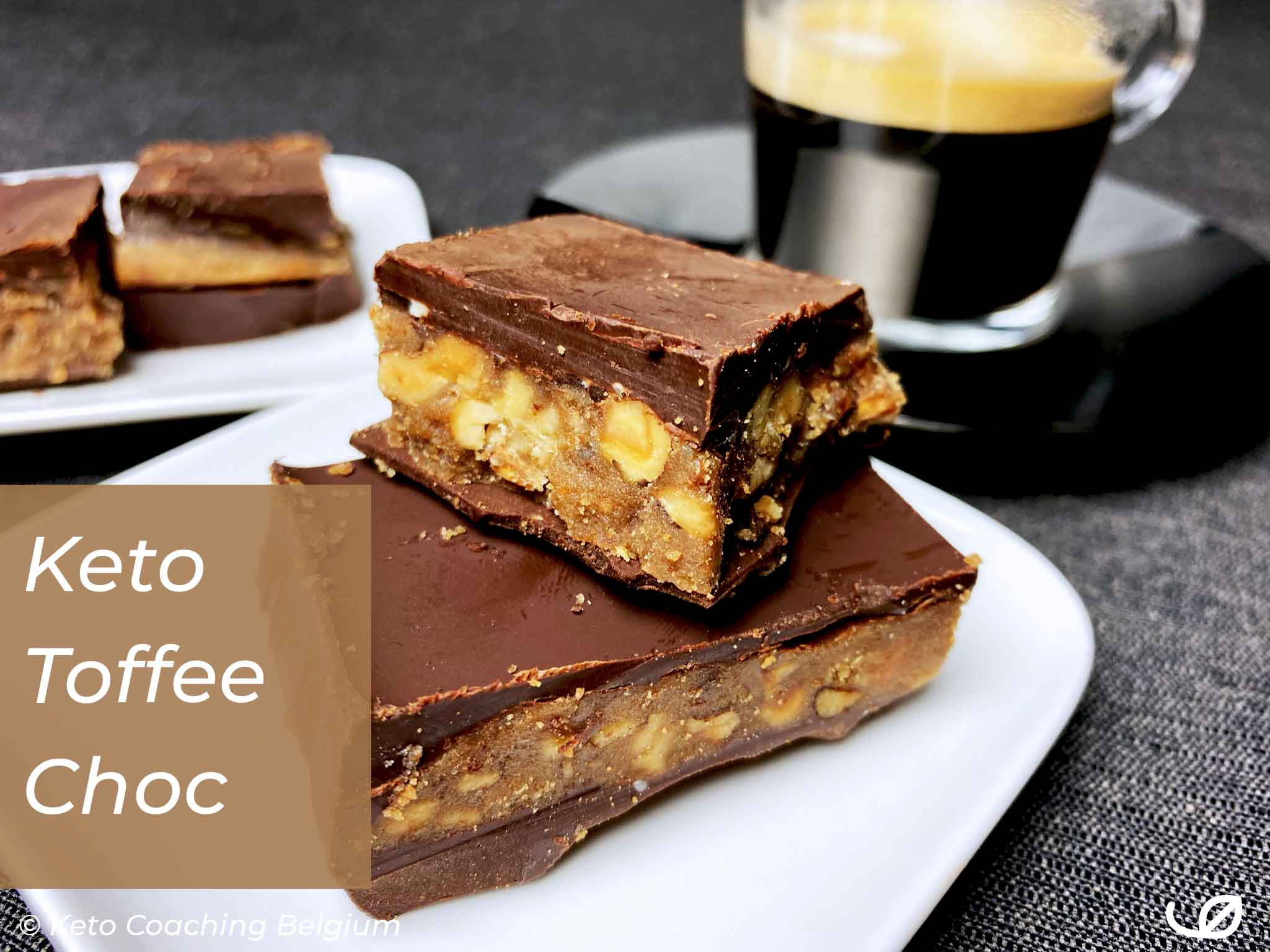 Keto en Low-Carb suikervrije Toffee Chocolade reep karamel