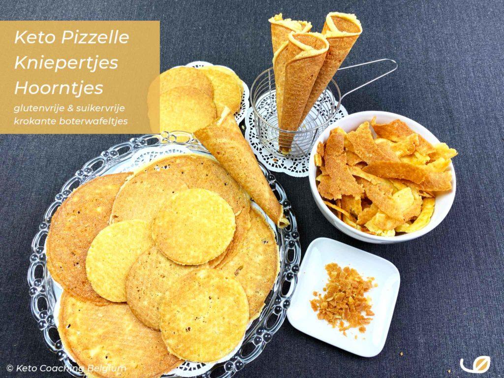 Keto low-carb koolhydraatarme glutenvrije en suikervrije hoorntjes kniepertjes en stroopwafels of pizzelle