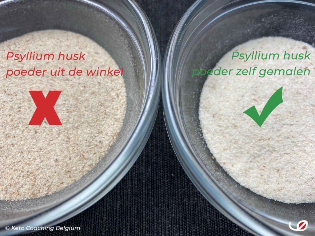 gekocht psyllium husk poeder versus zelf gemalen psyllium husk tot poeder