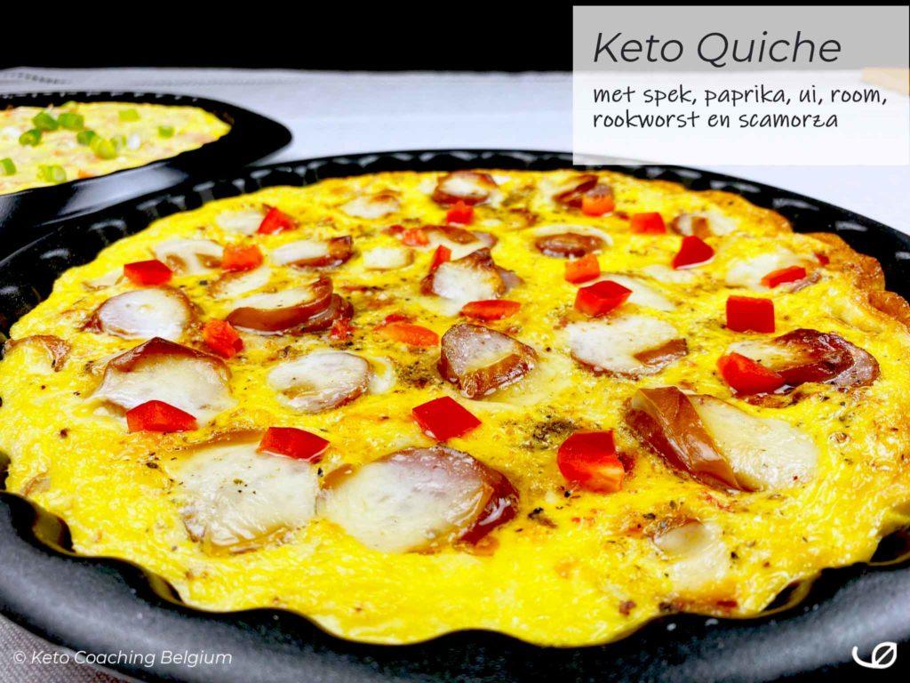 Keto Quiche met spek paprika ui look room rookworst scamorza koolhydraatarme glutenvrije quiche