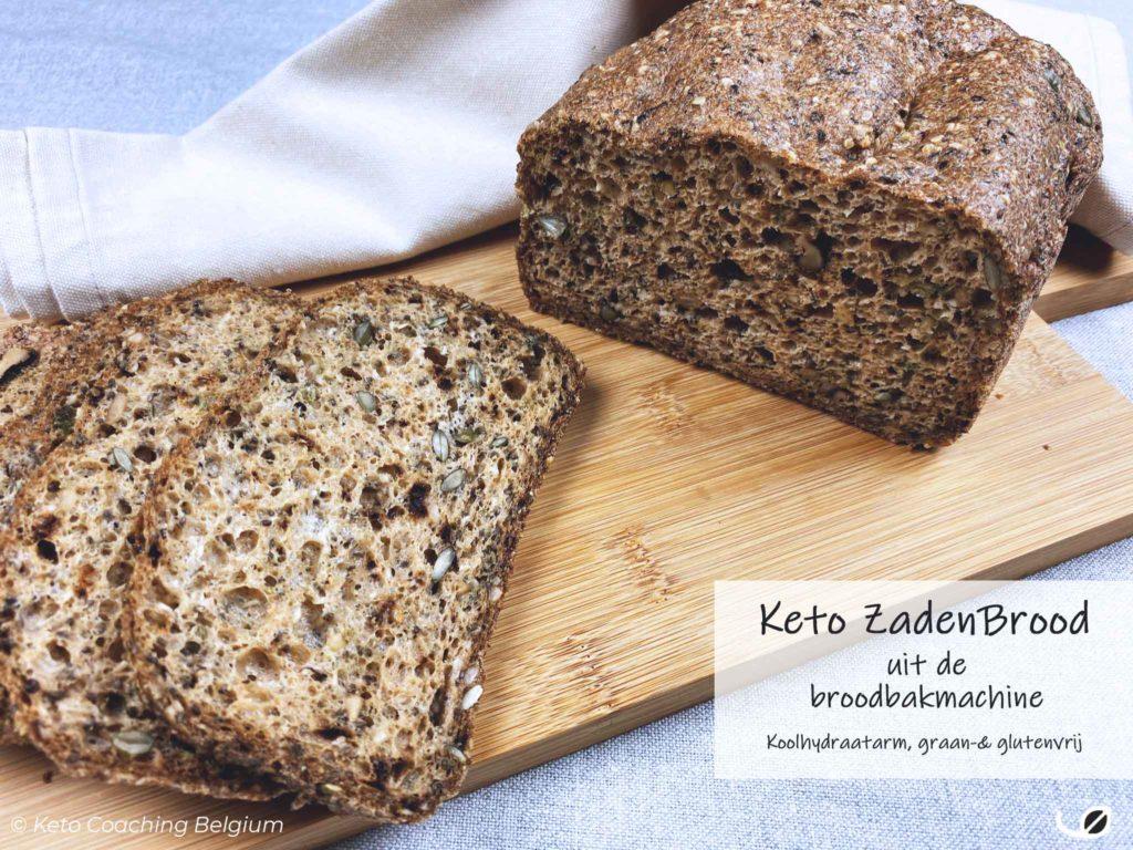 Keto koolhydraatarm graanvrij glutenvrij notenvrij zadenbrood broodbakmachine brood gesneden
