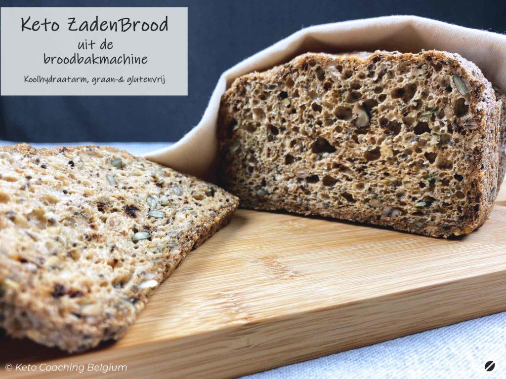 Keto koolhydraatarm graanvrij glutenvrij zadenbrood uit broodbakmachine gesneden