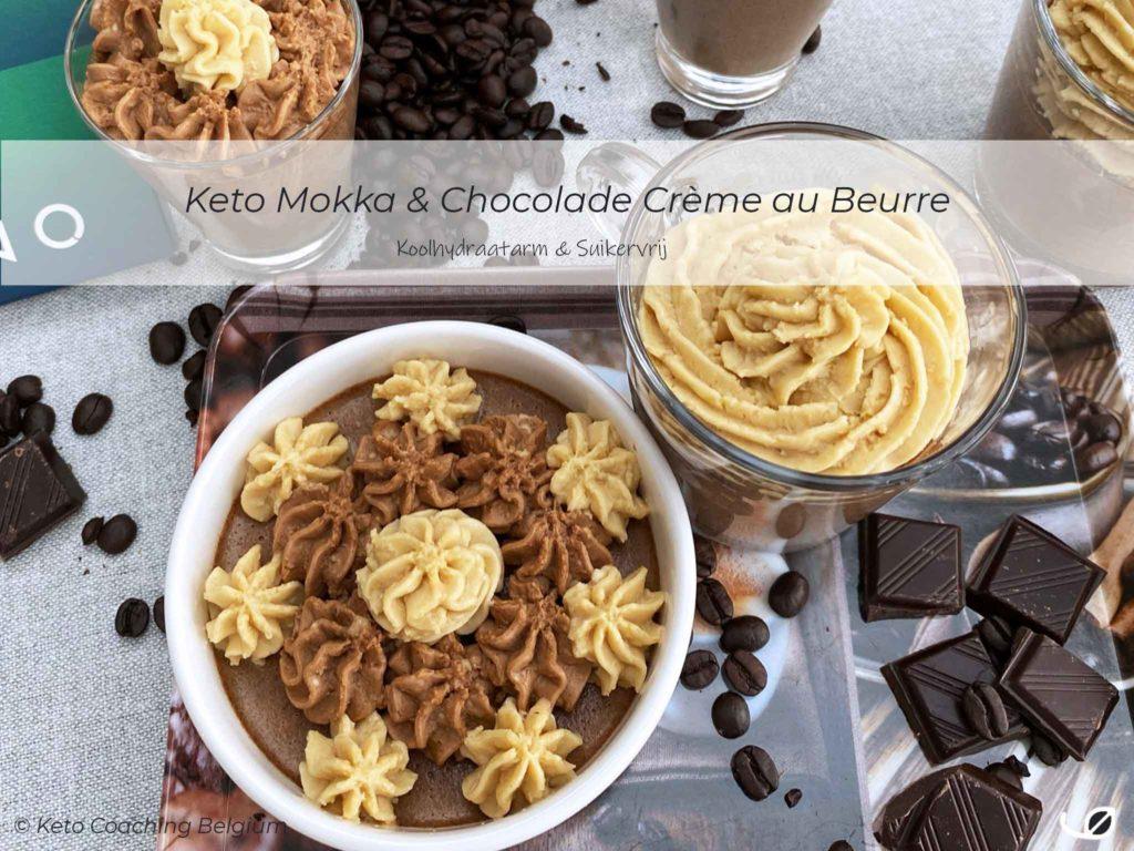 Keto koolhydraatarme mokka chocolade duo van suikervrije crème au beurre