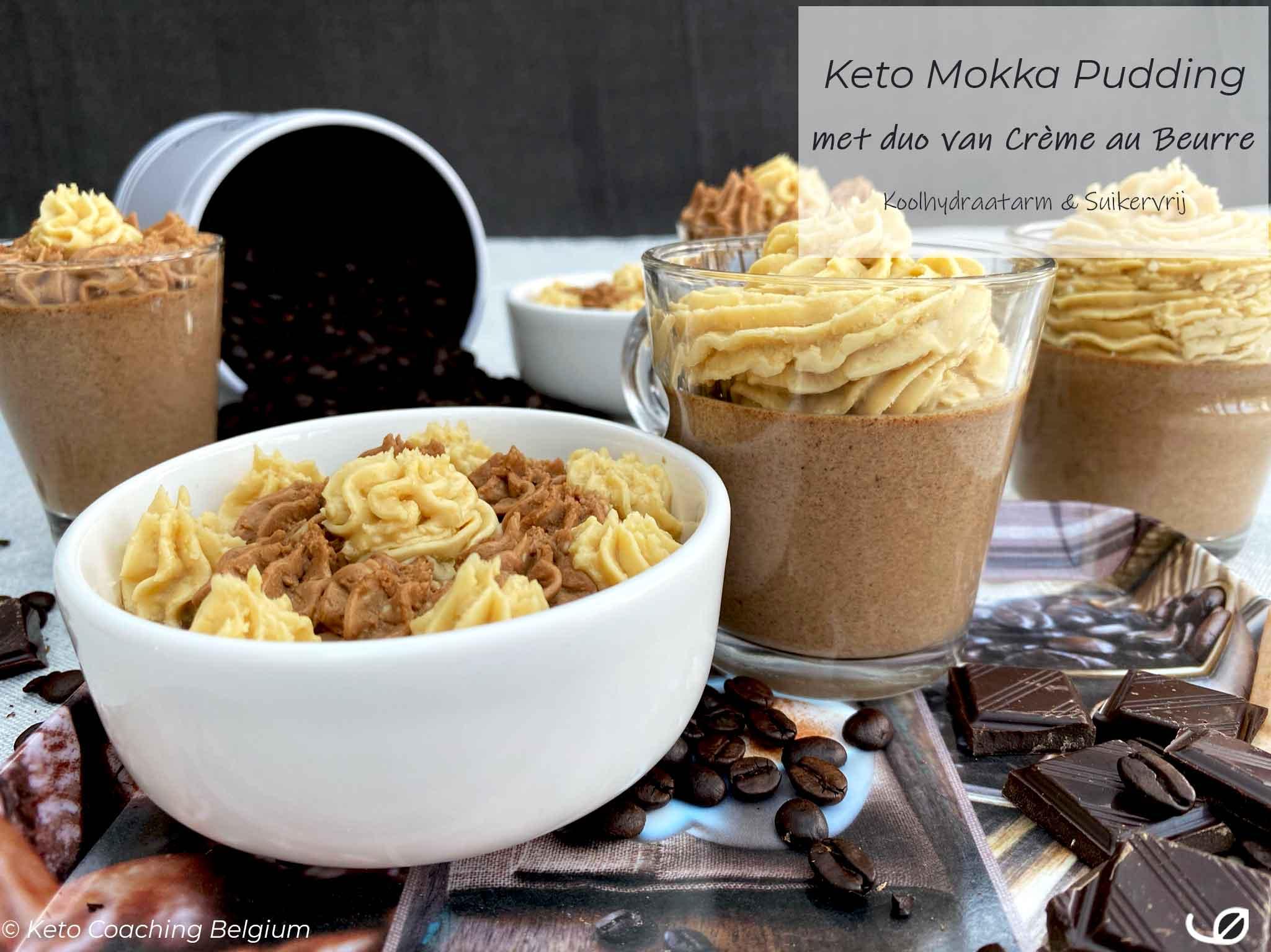 Keto mokka chocolade mousse pudding met duo van mokka en chocolade crème au beurre