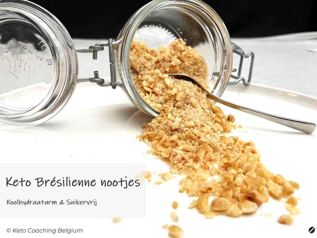Zelfgemaakte Koolhydraatarme en suikervrije Keto Brésilienne van gekarameliseerde hazelnoten