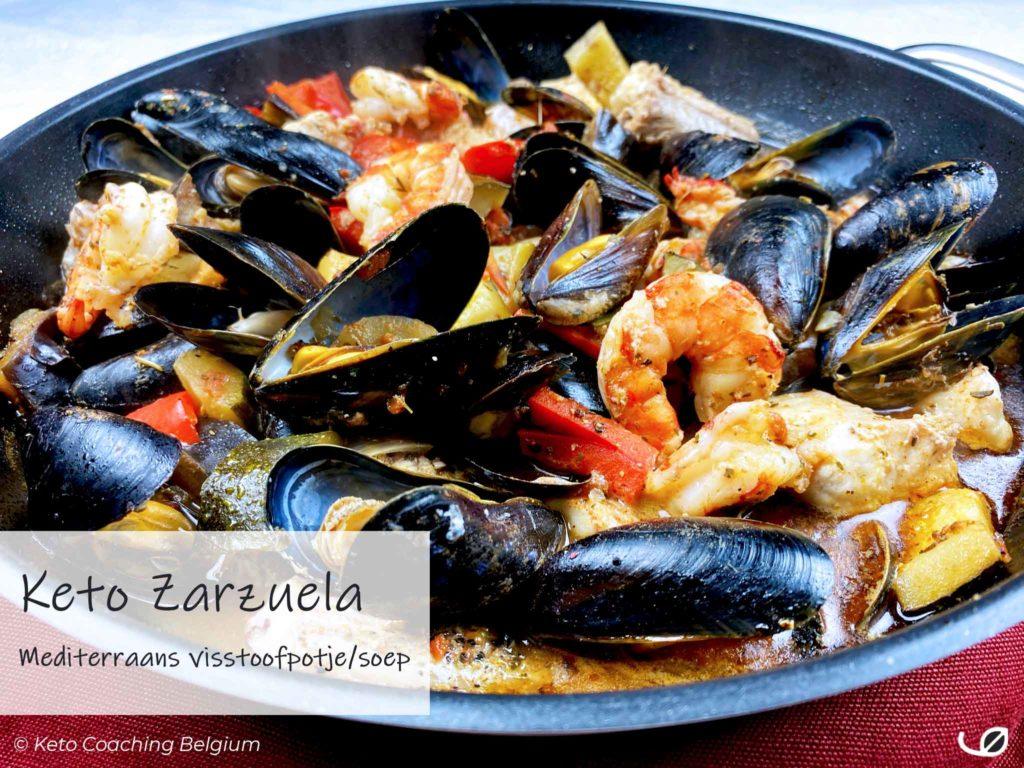 Keto Zarzuela Koolhydraatarm visstoofpotje vissoep met vis en zeevruchten