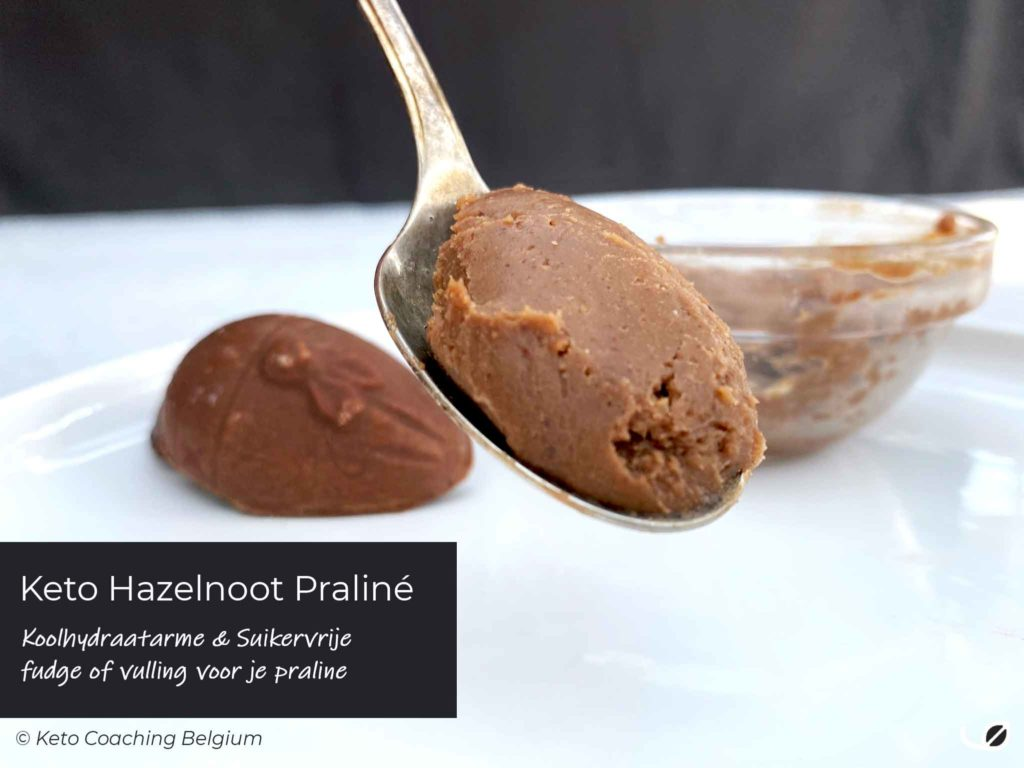 Keto hazelnoot praliné crème voor suikervrije fudge of vulling van je koolhydraatarme praline of chocolade