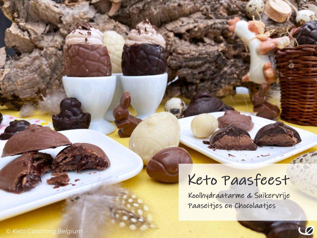 Keto paaseitjes met vulling suikervrij koolhydraatarm chocolaatjes paasfeest