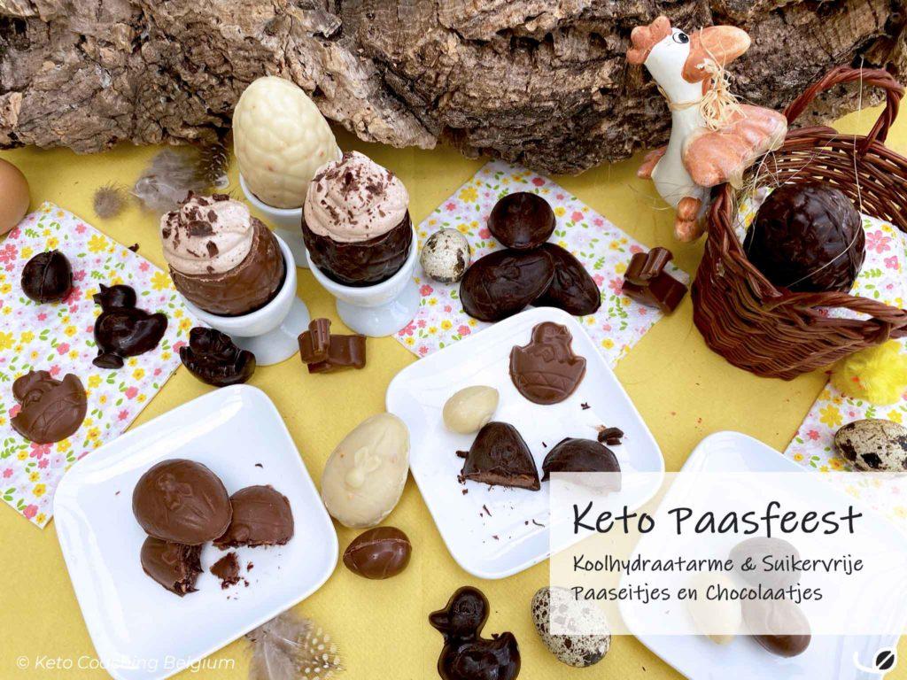 Keto paasfeest suikervrije chocolade paaseitjes gevuld met mokka mousse praliné ganache
