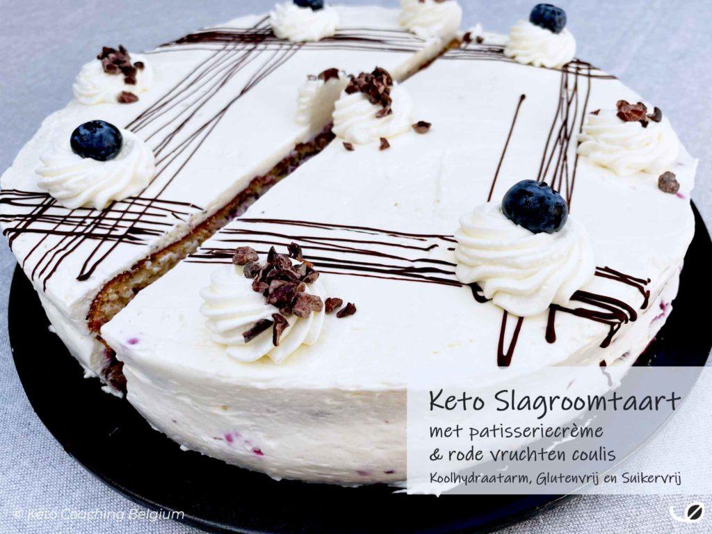 Keto slagroomtaart cake suikervrije roden vruchten coulis en koolhydraatarme patisserie crème graanvrij glutenvrij