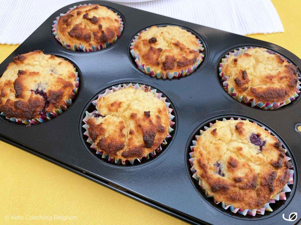 Keto Ricotta Bosbessen Muffins suikervrij koolhydraatarm graanvrij glutenvrij
