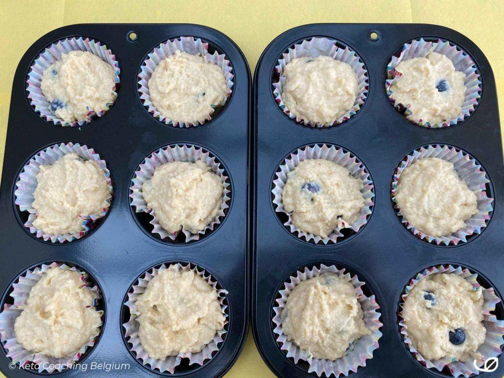 Keto Ricotta Bosbessen Muffins suikervrij koolhydraatarm graanvrij glutenvrij beslag