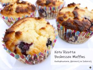 Keto Ricotta en Bosbessen Muffins suikervrije koolhydraatarme muffins met amandelmeel en kokosmeel