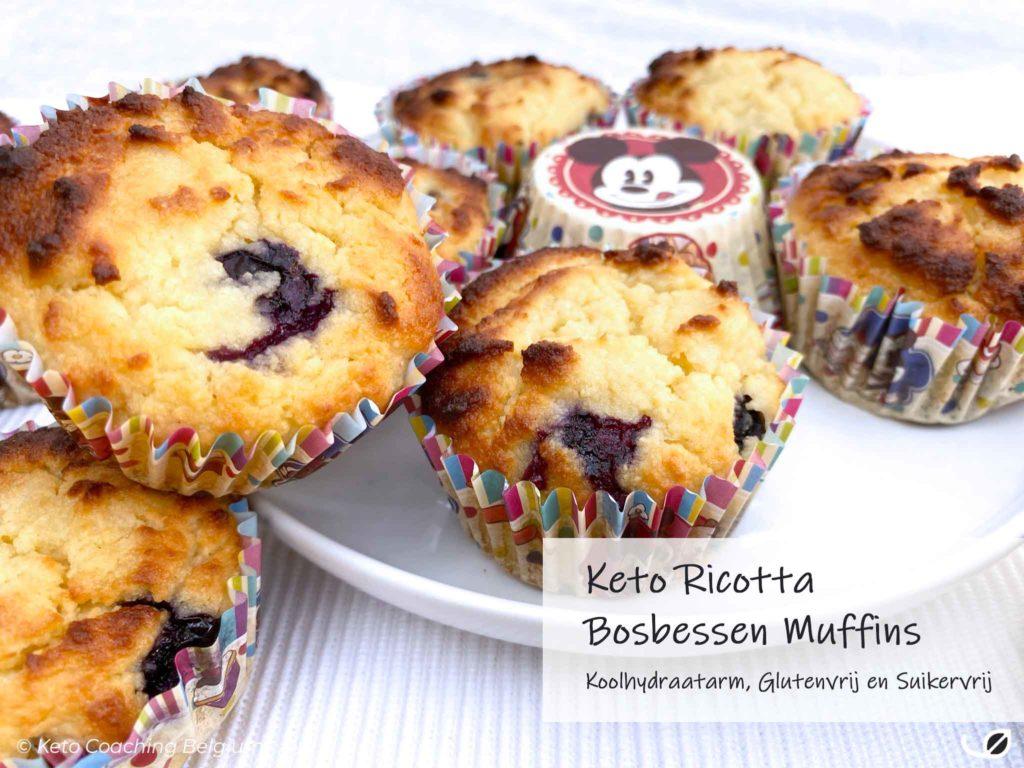 Keto Ricotta en Bosbessen Suikervrije Muffins koolhydraatarme muffins met amandelmeel en kokosmeel