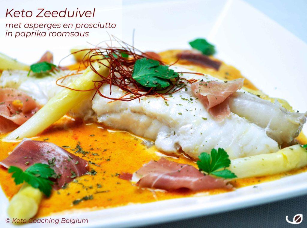 Keto Zeeduivel met asperges en prosciutto in paprika roomsaus lotte koolhydraatarme vis recept
