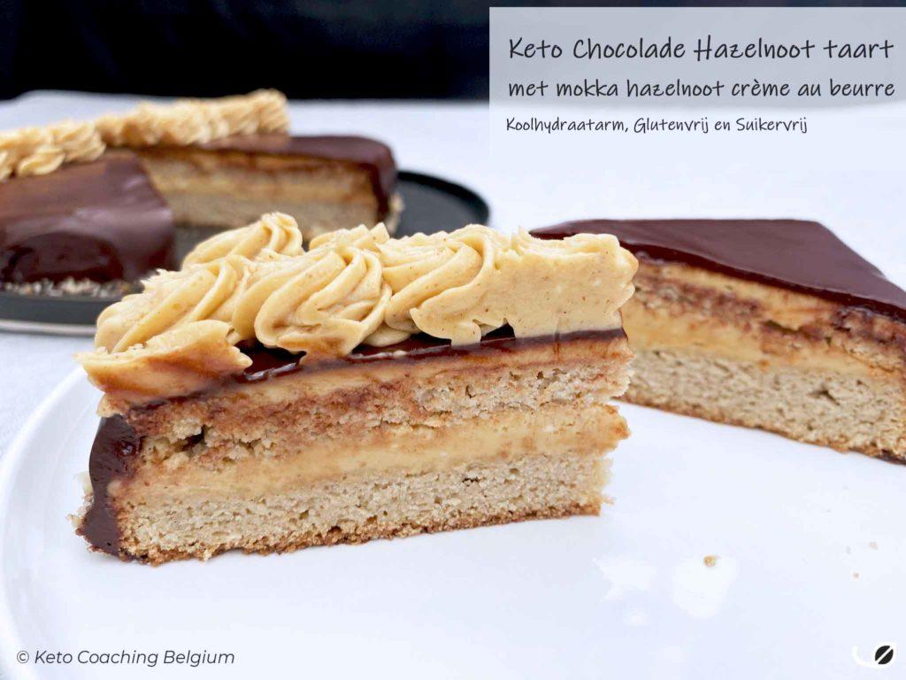 keto koolhydraatarme chocolade hazelnoot glutenvrije taart suikervrije crème au beurre