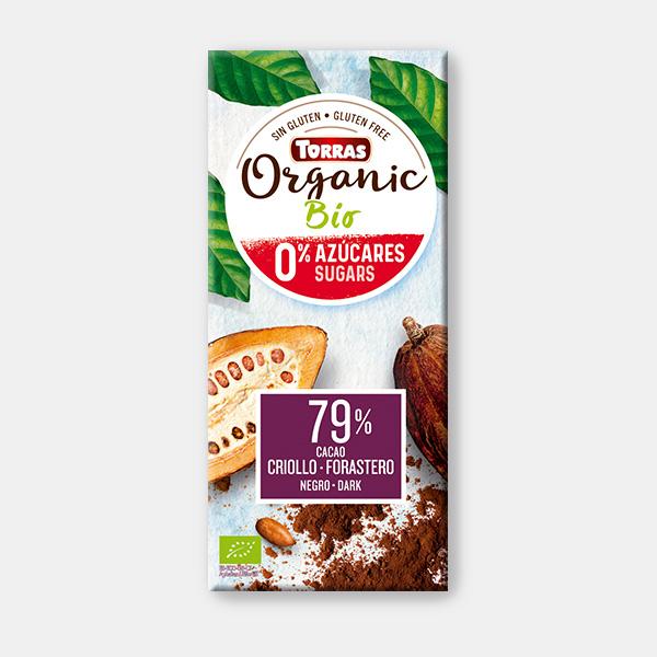 Torras biologische chocolade 0% suiker gezoet met erythritol