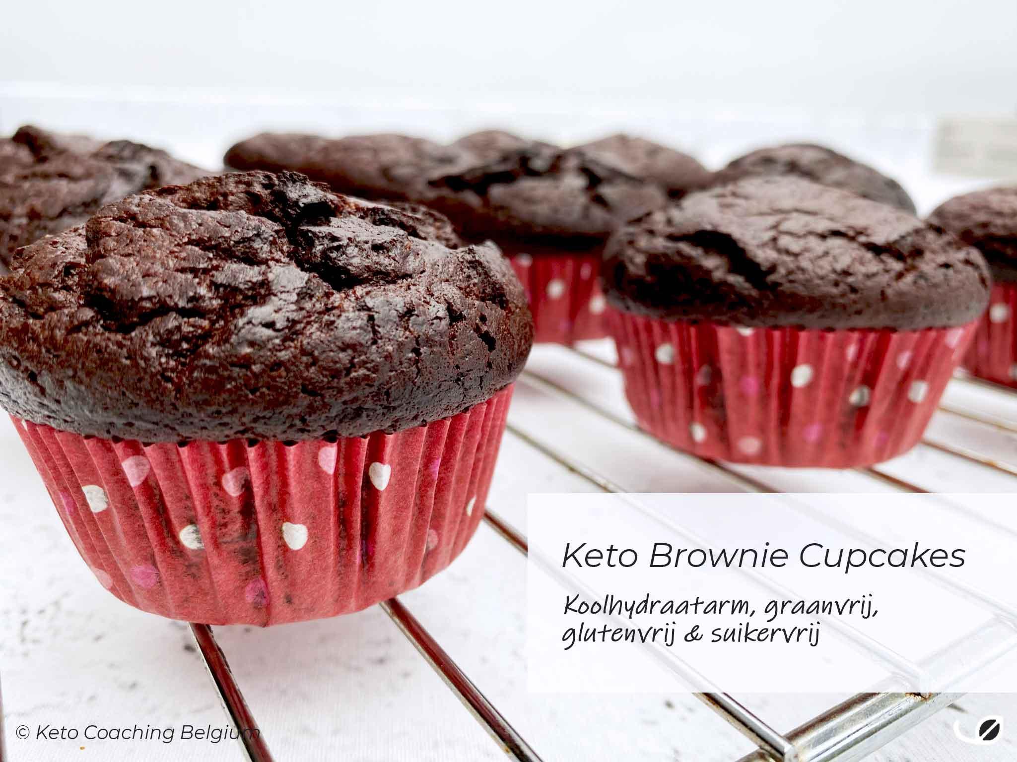 Keto brownie cupcakes - koolhydraatarme glutenvrije suikervrije cupcake brownies recept