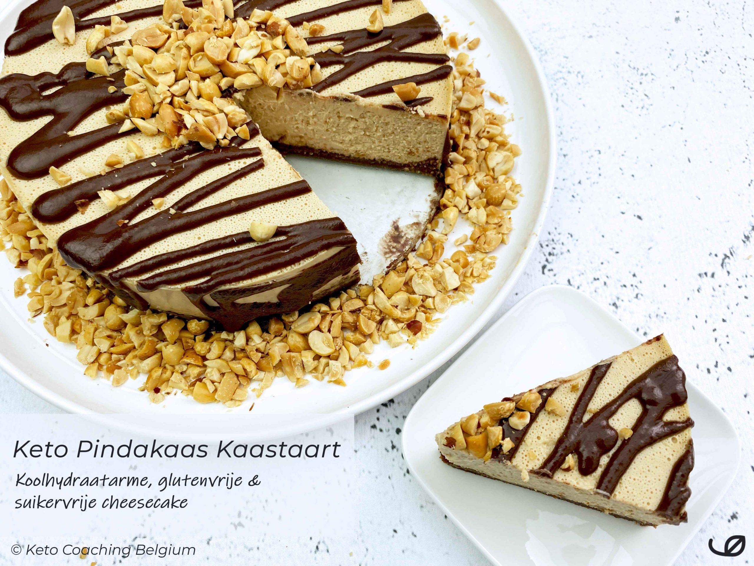 keto koolhydraatarme pindakaas kaastaart glutenvrije amandel cacao taartbodem en chocolade ganache met pindanoten recept