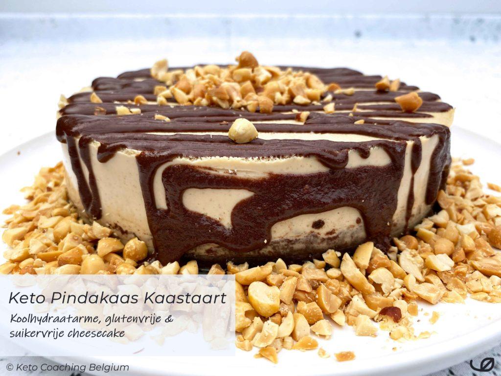 keto koolhydraatarme pindakaas kaastaart met glutenvrije amandel cacao taartbodem - chocolade ganache en pindanoten recept