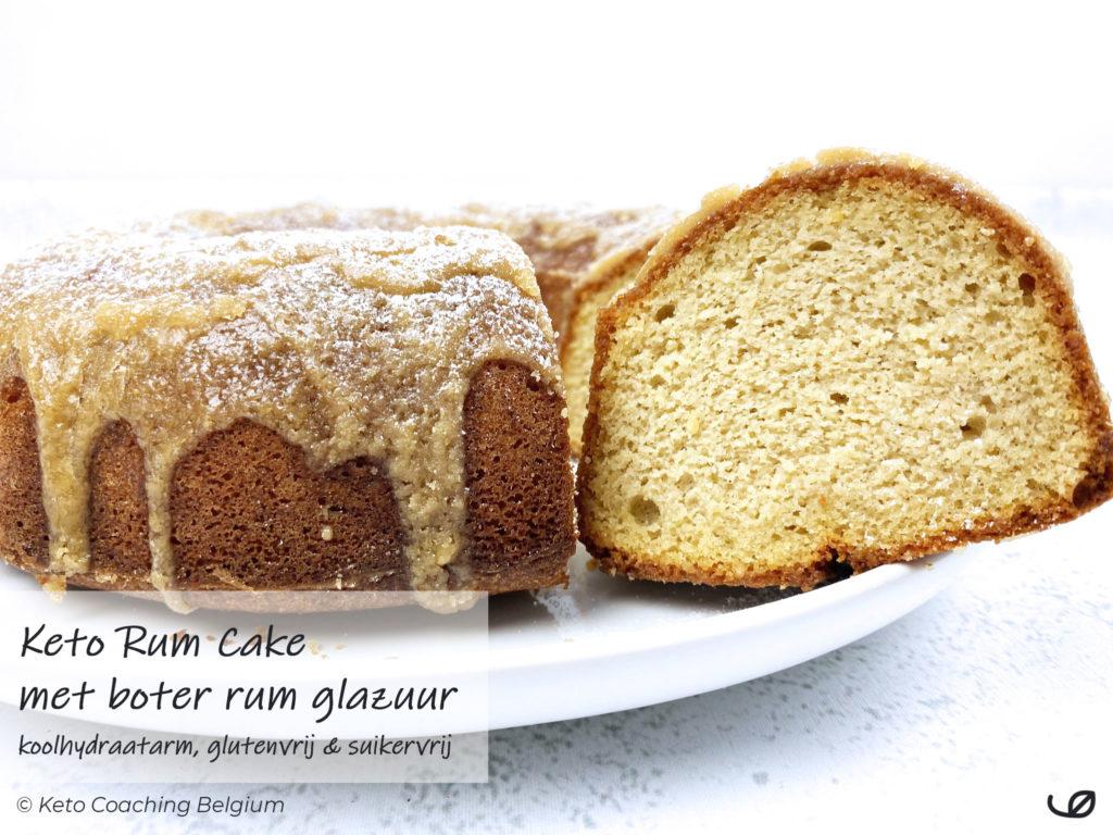Keto Stroh Rum Cake koolhydraatarme glutenvrije suikervrije amandel kokos cake met boter rum glazuur