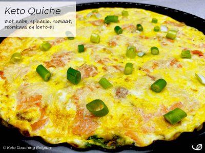 Keto Quiche met zalm gerookte zalm spinazie roomkaas tomaat lente-ui