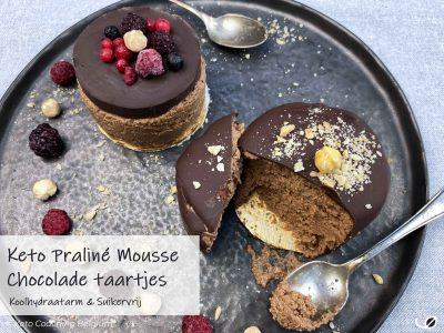 Keto Suikervrije koolhydraatarme Praliné mousse chocolade taartjes dessert krokante suikervrije chocolade ganache