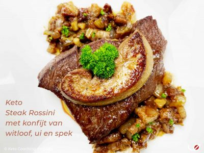 Keto Steak Rossini met konfijt van witloof ui en spek