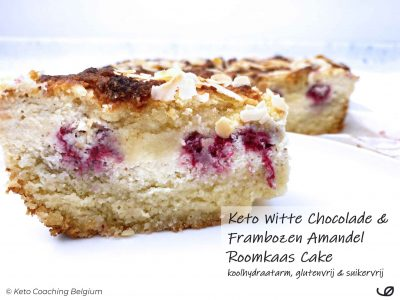 Keto suikervrije Witte Chocolade Frambozen Amandel Roomkaas Cake