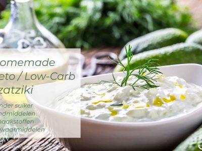 Zelfgemaakte koolhydraatarme Tzatziki low-carb recept van Keto Coaching Belgium